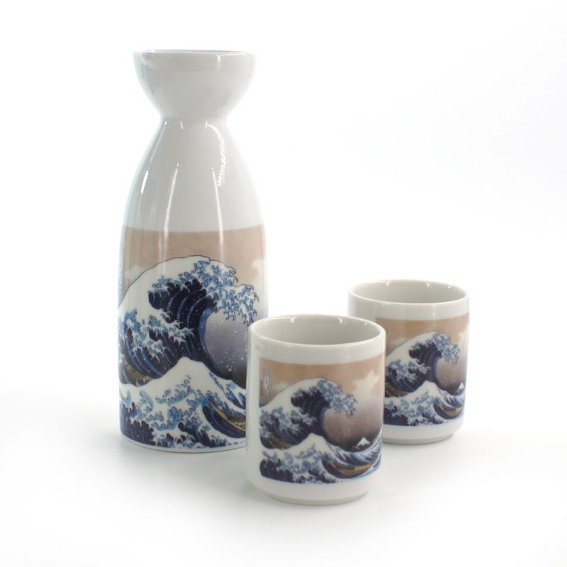 sake service 1 bottle and 2 cups, KANAGAWA URANAMI, wave