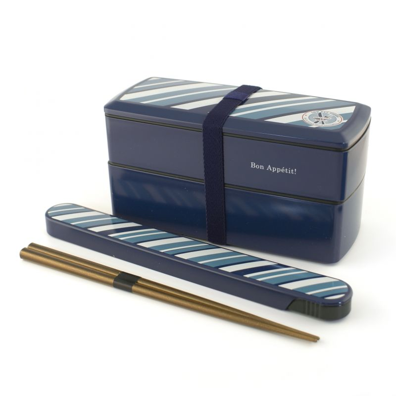 rectangular japanese lunch box, SHOKUYOKU GAI , blue