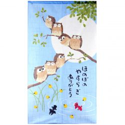 japanese blue hemp noren curtain summer owls NATSU NO SHICHIFUKURÔ