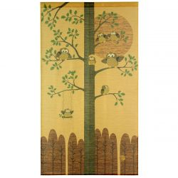 japanese golden noren curtain owls and good fortune KINUN FUKURÔ