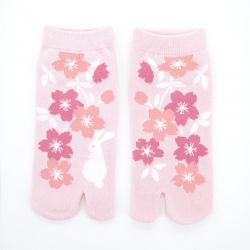 japanese cotton tabi socks, EDAZAKURA, pink