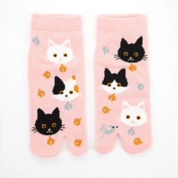 japanese cotton tabi socks, NEKONEKO, pink