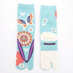 japanese cotton tabi socks, ZORI-MAIKO, blue