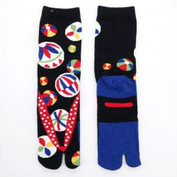 japanese cotton tabi socks, ZORI-MARI, black