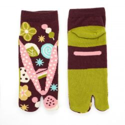 japanese cotton tabi socks, ZORI-WAGASHI, brown