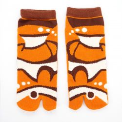 japanese cotton tabi socks, KAKUREKUMANOMI, orange