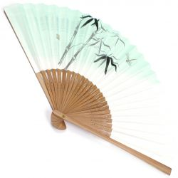 japanese fan made of paper and bamboo, KAGERO, green and white