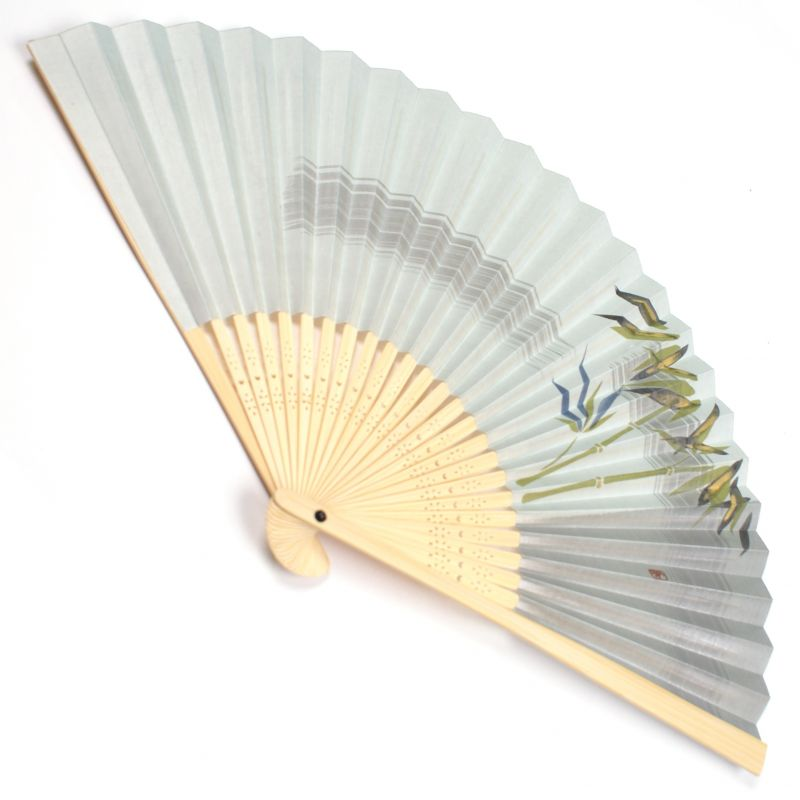 japanese fan made of paper and bamboo, TAKE, Grey