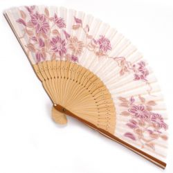 japanese fan in cotton and bamboo, TESSEN, pink