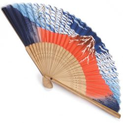 japanese fan made of silk and bamboo, AKAFUJI, Mount Fuji - Hokusai