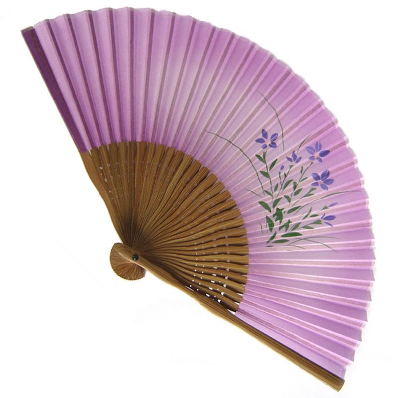 japanese fan made of silk and bamboo, HANA, purple