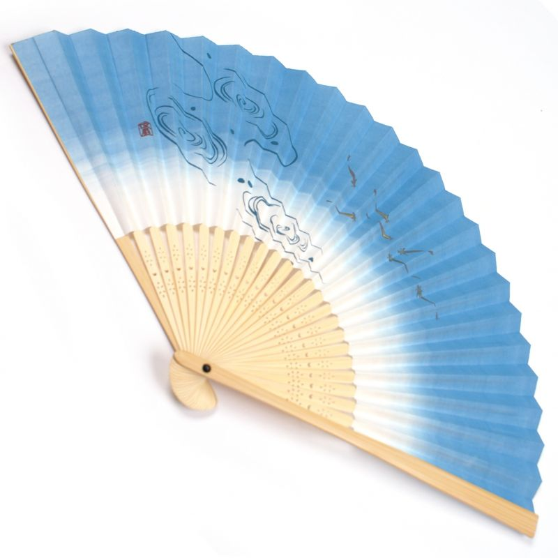 japanese fan made of paper and bamboo, MEDAKA, blue