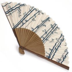 japanese fan in cotton and bamboo, TAKESUZUME, bamboo