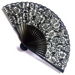 japanese fan in cotton and bamboo, HANA, flowers