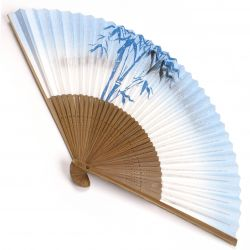 japanese fan made of paper and bamboo, TAKE, blue and white