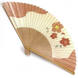 japanese fan made of paper and bamboo, UME, pink