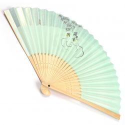 japanese fan made of paper and bamboo, HOTARU, green