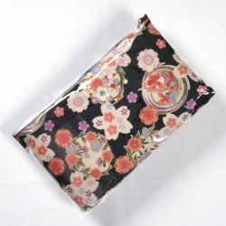 Japanese cotton bag with fabric case and mirror, 1887-7, black