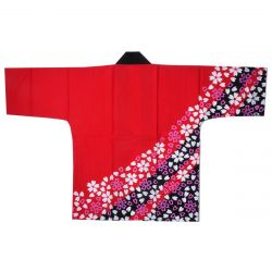 Japanese red cotton haori jacket for matsuri festival SAKURA