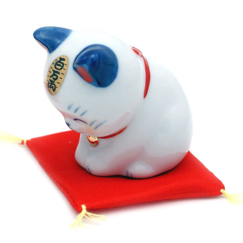 Japanese lucky manekineko cat, HYAKUMANRYO 7781, blue