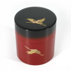 Japanese red and black tea caddy in resin with Japanese cranes pattern - YUBAETSURU - 150g