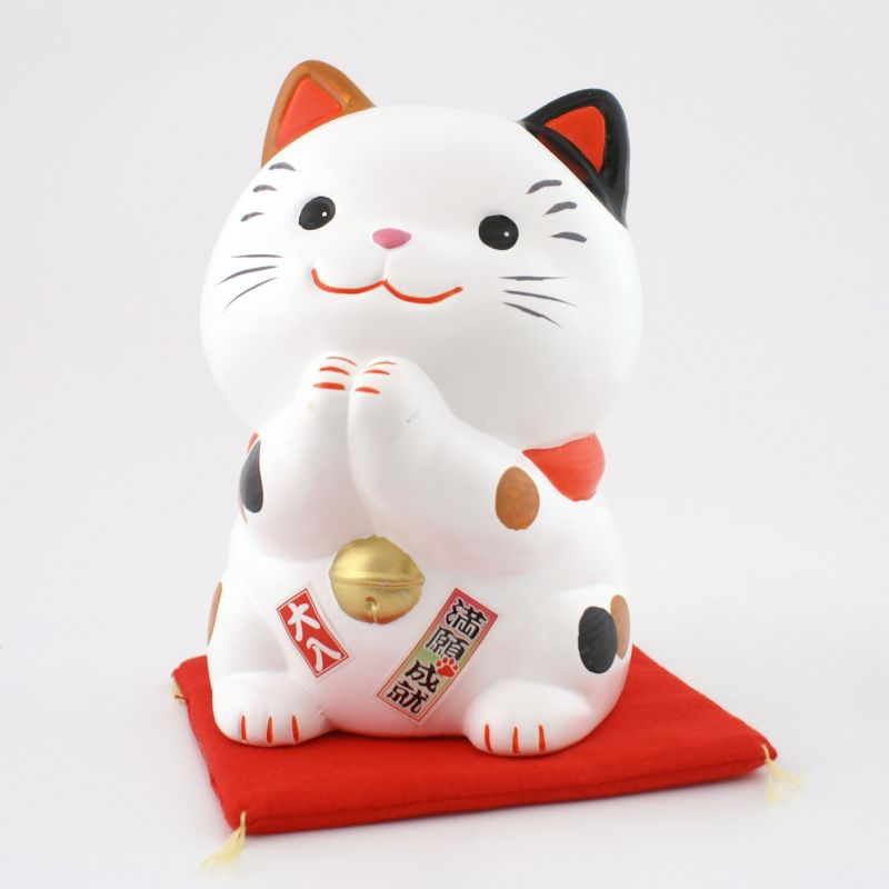 Japanese manekineko lucky cat, SHIAWASE MIKE-L, joined hands