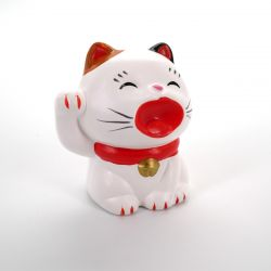 Japanese white ceramic cat, MANEKINEKO, right paw