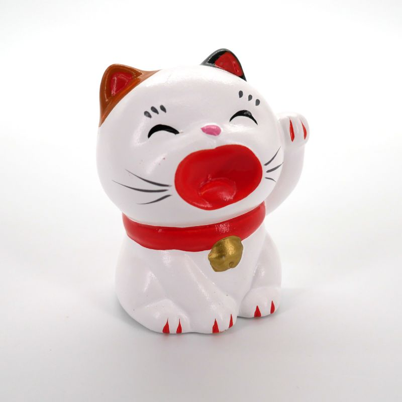 Japanese white ceramic cat, MANEKINEKO, left paw
