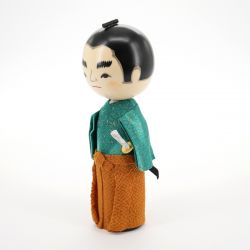japanese wooden doll - kokeshi, SAMURAI, blue
