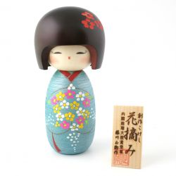 japanese wooden doll - kokeshi, HANATSUMI, blue