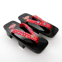 the pair of Japanese lacquered Geta clogs, ASANOHA 1, hana