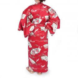 Red japanese cotton kimono for ladies crane patterns SENMEN-NI-TSURU