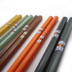 5 colors japanese chopsticks set in wood cats MANEKINEKO