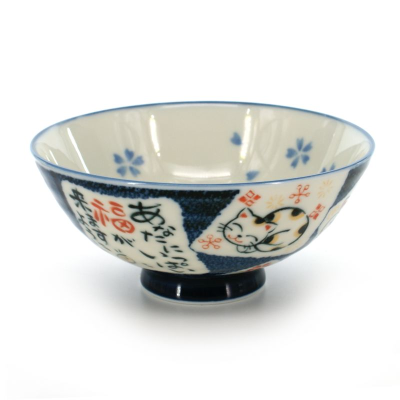 Japanese ceramic rice bowl, MANEKINEKO KERYÔ, manekineko