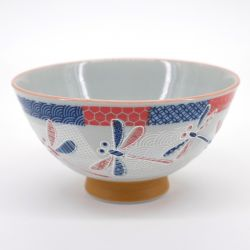 Japanese ceramic rice bowl, NAKAHIRA ICHIMATSU TOMBO, dragonfly