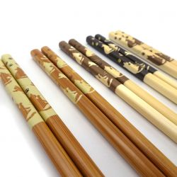 5 colors japanese chopsticks set in wood cats NEKO