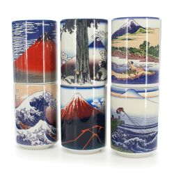Japanese traditional colour white 6 teacups set with fujisan pictures in ceramic VIVID