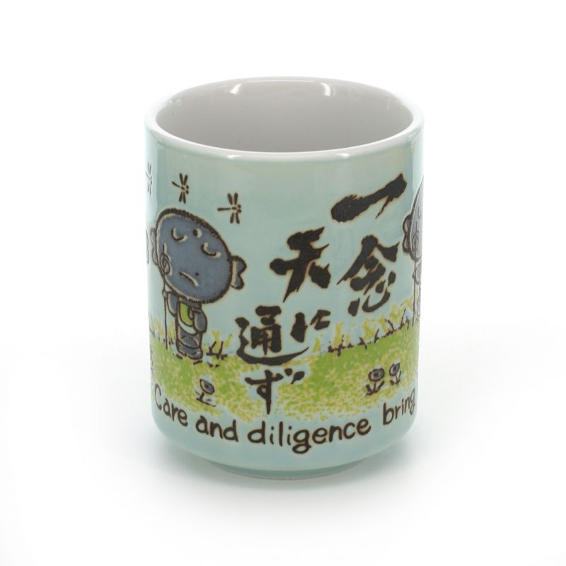 teacup Jizo with pictures and proverb white ICHINEN